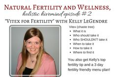 Expert advice on vitex for fertility. This video contains a lot of information on how to use vitex (chaste tree) and low progesterone, as well as a fertility menu and top fertility tip.