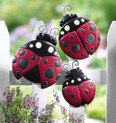 Ladybug Kitchen Decor | Glowing Ladybug Fence Decor from Collections Etc.