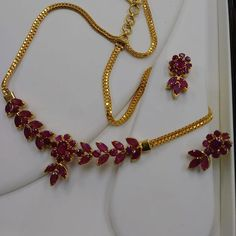 Our new light weight genuine stone sets , seen here with sapphire and ruby Gold Ruby Necklace, Gold Necklace Simple, Gold Jewelry Simple, Ruby Jewelry, Stone Jewelry, Bridal Jewelry, Diamond Necklaces, Gold Necklaces, Light Weight Gold Jewellery