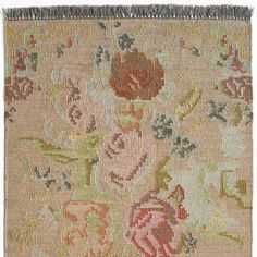 ANTIQUE ROSES KILIM RUG -- An antiqued ambiance of dusty rose, soft greens and tans. Hand woven, each is unique with traditional small slit tapestry gaps. Handmade Shop, Handmade Rugs, Antique Roses, Grey Rugs, Floral Motif, Dusty Rose, Kilim Rugs, Rugs On Carpet, Carpets