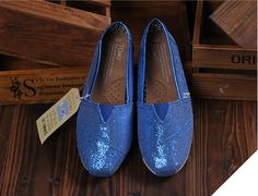 http://www.Toms.com/ Toms Glitter Shoes Women Blue