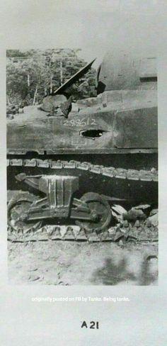 Destroyed M4 Sherman tank.
