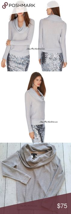 WHBM silver shimmer cowl sweater Gorgeous White House Black Market lighter weight cowl neck sweater in soft silver shimmering thread. Can pull a little off shoulder or wear as cowl neck. Pair this with some rhinestone earrings for an elegant look. See photos for measurements. Great condition with a couple small thread pulls. Comes from smoke free home. Please read my bio regarding closet policies prior to any inquiries. White House Black Market Sweaters Cowl & Turtlenecks