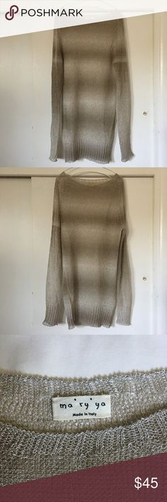 """⬇️ NWOT ma'ry'ya open knit sweater ⚠️PRICE IS FIRM, NO OFFERS WILL BE ACCEPTED New without tags, brand new. Size M. Measurements: Bust 18"""", Waist 16"""", Length 32.5"""". 85% linen, 15% viscose, made in Italy. Because of the low gauge, you will see some naturally occurred loose gauge here and there. (See 2nd last pic) In the last pic a model is wearing similar style sweater (neckline design is different) in different color. ma'ry'ya Sweaters Crew & Scoop Necks"""