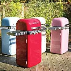 Retro Color Block Barbeques - The Memphis Two Burner BBQ is a retro designed BBQ that looks more like a 1960s beer fridge than a BBQ.  The BBQ is available in red, cream, blue a...