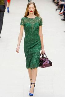Green Lace Floral Cap Sleeve Hem Celebrity Pleated Dress