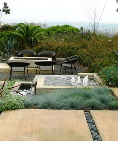 firepit and water feature in a modern design