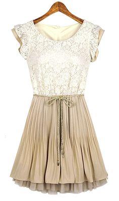 Beige Lace Frill Sleeve Belt Chiffon Pleated Dress--gorgeous