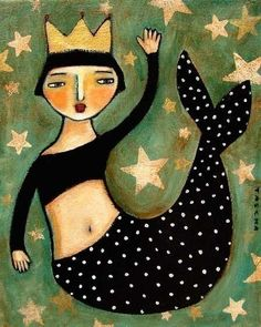 Folk Art Primitive MERMAID folk art PRINT of painting by tascha 8X10. $15.00, via Etsy.
