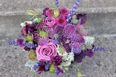 Color of the Year for 2014: PANTONE 18-3224 Radiant Orchid  purple lavender bouquet roses, blueberries, orchids, thistle, astrantia, nigella pod, scabiosa pod, scabiosa bloom, spay roses, hanging amaranthus designed by sophisticated floral designs portland oregon wedding florist pantone radiant orchid