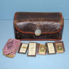 Sewing Etui Leather Roll Up Case Antique Vintage Mother Of
