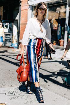 La Fashion Week prêt-à-porter printemps-été 2017 de New York bat son plein, découvrez les meilleurs looks pris sur le vif à la sortie des défilés. Photos par Sa