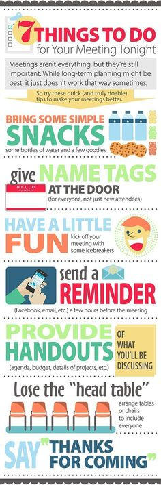 fundraising infographic : Infographic: Last-Minute Meeting Tips  PTO Today