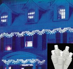 Set of 150 LED Pure White Swag Christmas Lights - White Wire