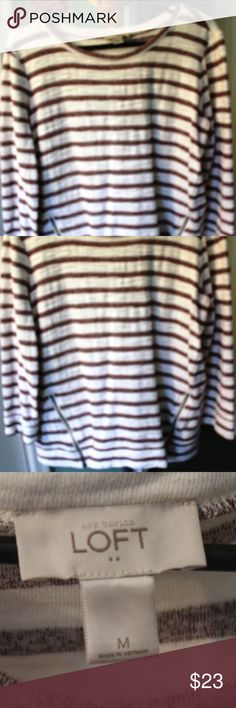 "ann Taylor Loft Top Ann Taylor Loft Top - 3/4 Sleeve - off white and brick brown colored stripe - soft cotton - 2 front side pockets  ""boxy"" fit Loft - Ann Taylor Tops"