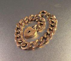 Victorian Heart Padlock Bracelet Rose Gold by LynnHislopJewels