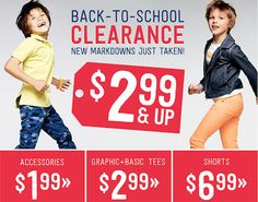 This Crazy 8 Sale has great deals on shorts, swimwear, tees & more! Accessories $1.99 & up!