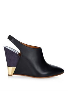 Eliza leather and suede wedges   Chloé   MATCHESFASHION.COM