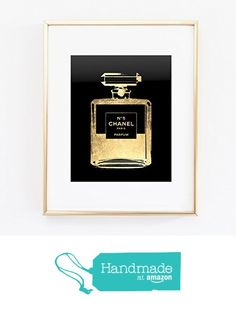 COCO CC Chanel # 5 Perfume Bottle Fume French Gold Foil Wall Art Print Color Black and Gold Fashion Vogue poster 0094 from Artlantida http://www.amazon.com/dp/B016YKSK9M/ref=hnd_sw_r_pi_awdo_Gq0.wb1QJEXKE #handmadeatamazon