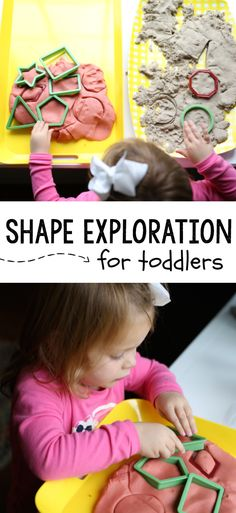 This super simple shape exploration activity for toddlers is the perfect way to introduce your toddler to learning about shapes!  A super fun sensory activity and great for language development as you talk together about the shapes and their attributes.