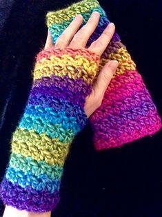 Diamond Tweed Wristwarmers - free crochet pattern by Jennifer Christensen. Custom fit child-adult size.