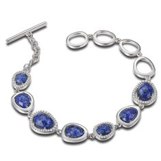 Sterling Silver 7.25 in. Lapis and Micro Pave CZ Bracelet 20% off at instylesilverjewelry.com