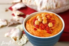 Roasted red pepper garlic hummus from @Brenda - a farmgirl's dabbles