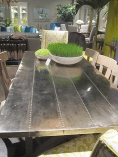 like this metal topped table for the kitchen - Metal Kitchen Table