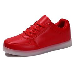 b99966a09d Pattrily Men Womens LED 7 Colors Shoes USB Charging Shoes Colorful Light Up Shoes  12 red