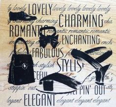fashion rubber stamps | Limited Edition Rubber Stamp Fashion Collage Elegance Shoes Purse ...