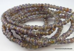 Czech Glass Beads 2x3mm Amethyst Picasso by mountainshadowdesign (Craft Supplies & Tools, Jewelry & Beading Supplies, Beads, Czech Glass Beads, Firepolished, Assortment, Organic Colors, Tiny Beads, Czech, Beads, Purple, Jewelry Making, amethyst picasso)