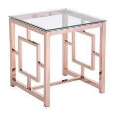 Modern Tempered Glass and Polished Stainless Steel Square Side Table - Rose Gold ZM Home Rose Gold Side Table, Gold End Table, Table Rose, Table 19, Gold Furniture, Colorful Furniture, Contemporary Furniture, Modern Contemporary, Rose Gold Interior