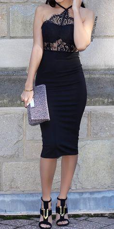 Black Sleeveless Halter Lace Dress