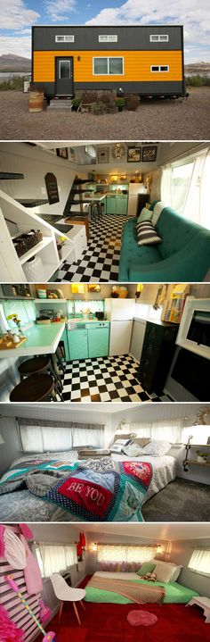 A mix of retro and automotive themes blend together in the Retro Garage House with its black and white checkered floor and teal appliances.