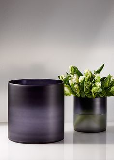 These frosted glass vases have an ombre effect that starts with a near black, deep purple color at the top, that lightens to purple and grey tones towards the bottom. Here we filled the smaller vase with pretty white and green parrot tulips.