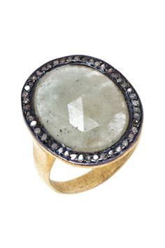 Sage Sapphire Diamond Halo Ring