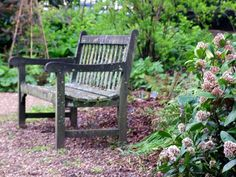 Garden & Lawn: Unique Tradional Wooden Garden Bench With Natural Design And Little Artistic Decoration. Outdoor Landscaping. Small Landscaping