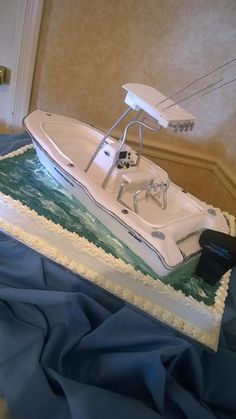 A unique Boat Cake Birthday Cakes, Birthday Ideas, Boat Cake, Gourmet Bakery, Specialty Cakes, Lions, Boat Shoes, 50th, Unique