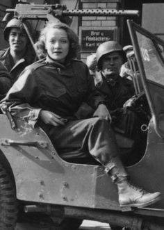 """Marlene Dietrich, """"a German who had renounced her country following the rise of the Nazis and rejected Hitler's request that she return--became an ardent and fearless supporter of the Allied Forces, performing hundreds of times for the troops as near the war zone as she could get."""" """" When asked why she had traveled to war zones to entertain and comfort Allied troops, she famously and simply replied, """"aus Anstand."""" """"It was the decent thing to do."""""""""""