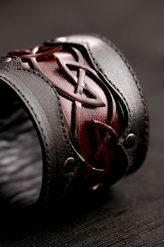 Leather Cuff, Leather Bracelet,leather cuff with a celtic design: Crimson Dara Cuff on Etsy, $109.00