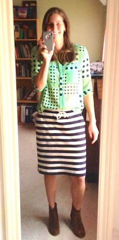 mixing polka dots with stripes
