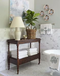 southern home decor Plates Meredith Ellis Southern Living Showhouse bathroom Bathroom Table, Bathroom Storage, Small Bathroom, Bathroom Ideas, Mosaic Bathroom, Furniture In Bathroom, Relaxing Bathroom, Restroom Ideas, Brown Bathroom