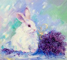 Белый кролик и лаванда 35х45 см