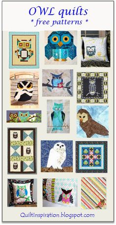 Here are some of our favorite free patterns for owls! We've found some truly adorable owl quilt designs. And who could resist a lovable owl-. Owl Quilt Pattern, Baby Quilt Patterns, Modern Quilt Patterns, Owl Patterns, Owl Quilts, Baby Quilts, Quilting Projects, Quilting Designs, Owl Applique