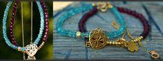 Garnet and amozonite faceted bracelets in gold