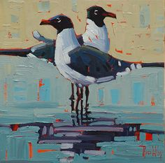 """Seagull pair,"" by Rene Wiley by Rene' Wiley Gallery Oil ~ 12 x 12"