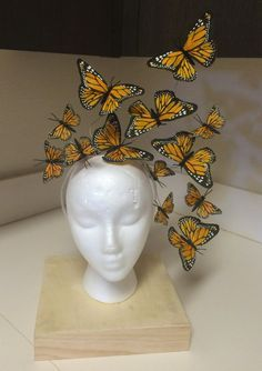 All Eyes on YOU! Canary Yellow Monarch Butterfly Fascinator Headpiece Light and easy to wear...minimum effort, maximum effect. Butterflies