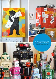 3 Fish Studios in the Outer Sunset, San Francisco. Photos from the Spotted SF blog. 3 Fish, Best Dentist, Local Artists, Craft Fairs, Robot, San Francisco, Sunset, Studios, City
