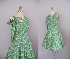 1950s Dress / 50s Ivy Bow Dress / Full by wildfellhallvintage