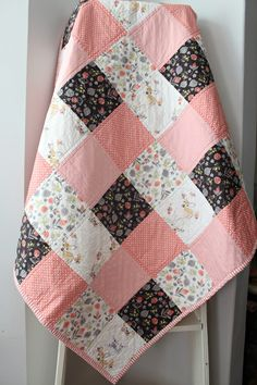 Patchwork Baby Quilt~ Homemade Baby Quilt~ Black & White Nursery ... : black quilts for sale - Adamdwight.com